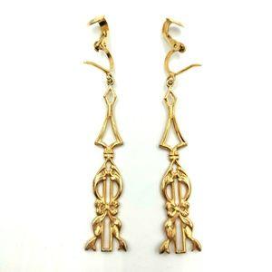 Vintage Filigree Dangle Clip Earrings Art Nouveau